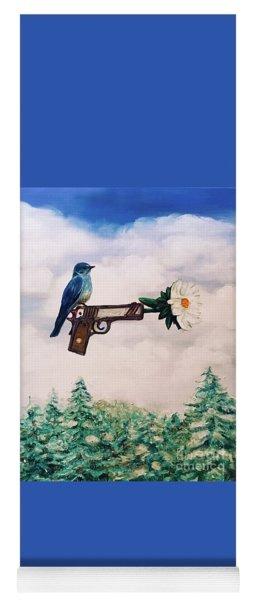 Flower In A Gun- Bluebird Of Happiness Yoga Mat