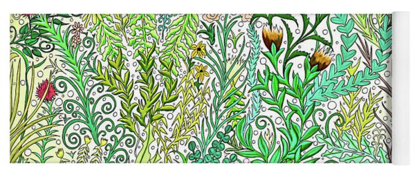 Flowers, Vines, Ferns And Butterflies With Yellow Backdrop Yoga Mat