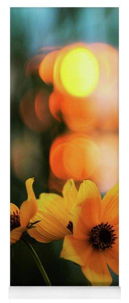 Flowery Bokeh Sunset Yoga Mat