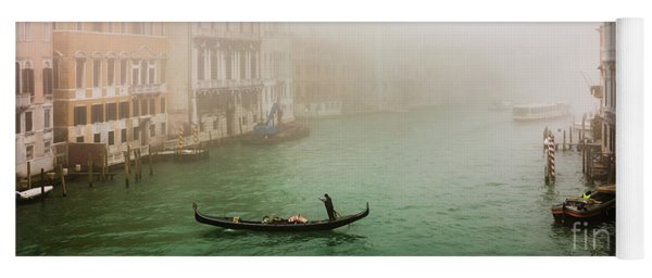 Foggy Morning On The Grand Canale, Venezia, Italy Yoga Mat