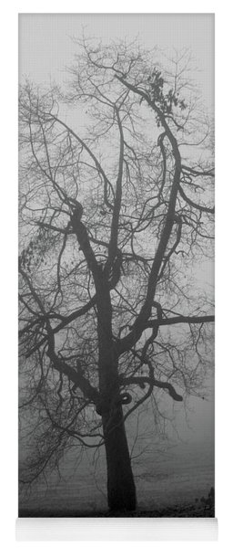 Foggy Tree In Black And White Yoga Mat