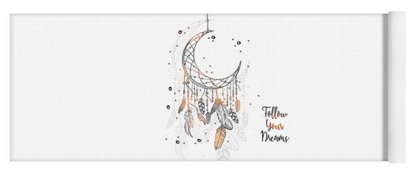 Follow Your Dreamcatcher - Boho Chic Ethnic Nursery Art Poster Print Yoga Mat