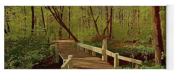 Footbridge Through The Woods Yoga Mat