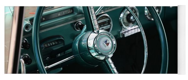 Yoga Mat featuring the photograph 1955 Ford Fairlane Steering Wheel by Debi Dalio
