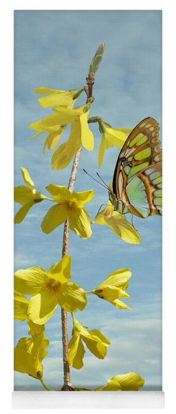 Forsythia And Butterfly Yoga Mat