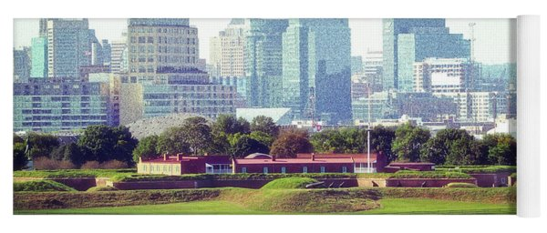Yoga Mat featuring the photograph Fort Mchenry With Baltimore Background by Bill Swartwout Fine Art Photography