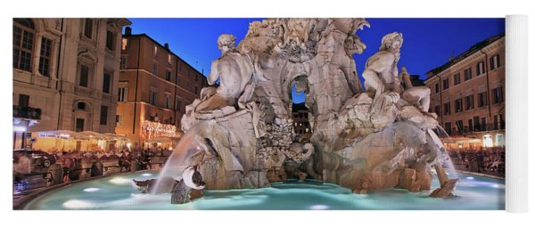 Four Rivers Fountain In Piazza Navona, Rome, Italy Yoga Mat