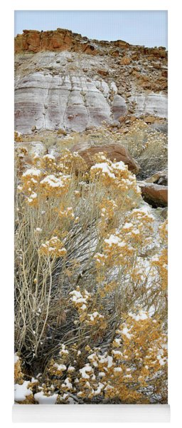 Fresh Snow On Rabbit Brush And Bentonite Dunes Yoga Mat