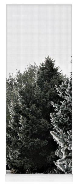 Frozen Fog On Conifers Yoga Mat