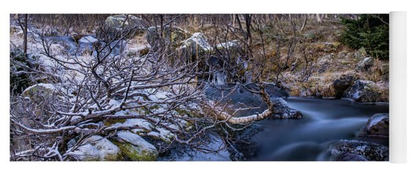 Frozen River And Winter In Forest Yoga Mat