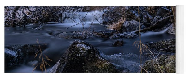 Frozen River And Winter In Forest. Long Exposure With Nd Filter Yoga Mat