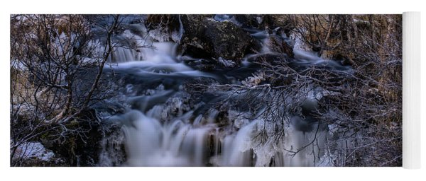 Frozen River In Forest - Long Exposure With Nd Filter Yoga Mat