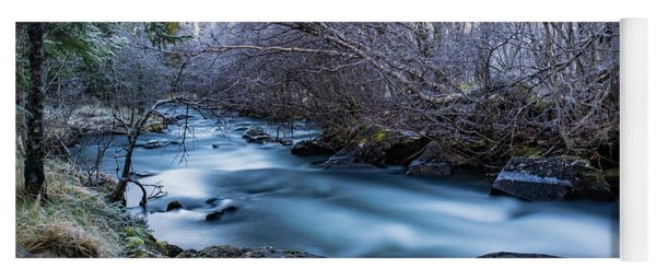 Frozen River Surrounded With Trees Yoga Mat