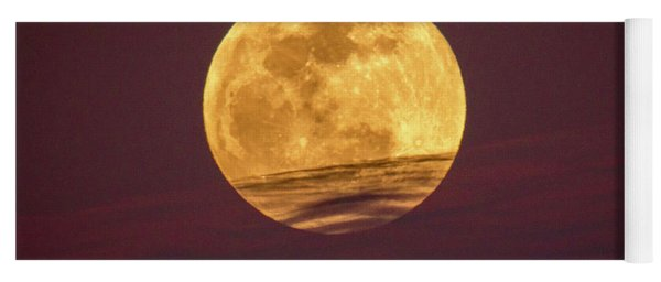 Full Moon Above Clouds Yoga Mat