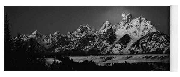 Full Moon Sets In The Tetons Yoga Mat