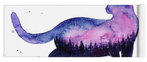 Galaxy Forest Cat Yoga Mat