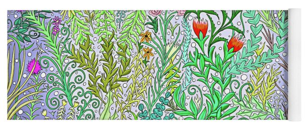 Garden Jungle In Purple With Fuchsia Flowers, Black Eyed Susans Spring Foliage Yoga Mat