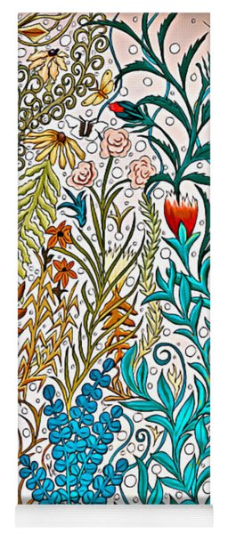 Garden Tapestry Design In Tan, Pink, Turquoise And Red Yoga Mat