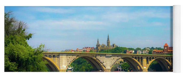 Yoga Mat featuring the photograph Georgetown From The Potomac by Lora J Wilson
