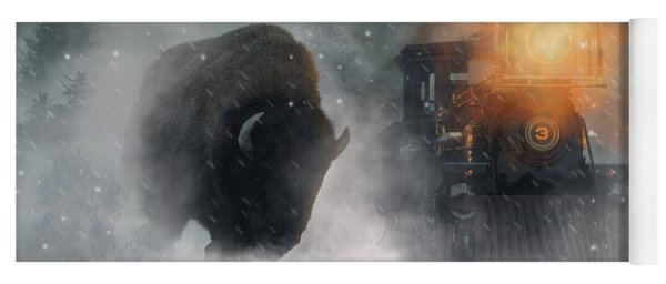 Yoga Mat featuring the digital art Giant Buffalo Attacking Train by Daniel Eskridge