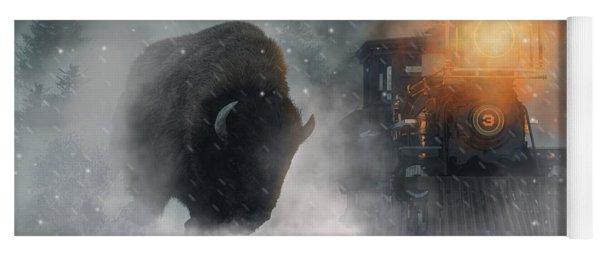 Giant Buffalo Attacking Train Yoga Mat