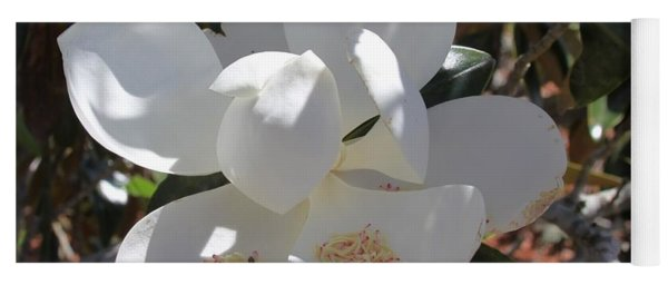 Gigantic White Magnolia Blossoms Blowing In The Wind Yoga Mat