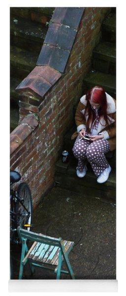 Girl On A Phone Yoga Mat
