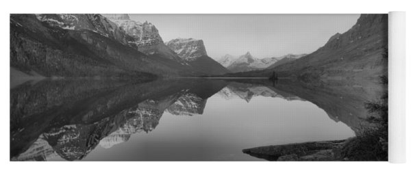 Glowing Mountain Peaks Of St Mary Glacier 2019 Black And White Yoga Mat