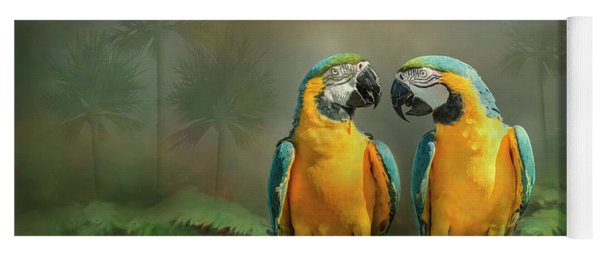 Gold And Blue Macaw Pair Yoga Mat