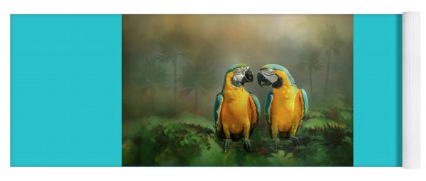 Yoga Mat featuring the photograph Gold And Blue Macaw Pair by Patti Deters
