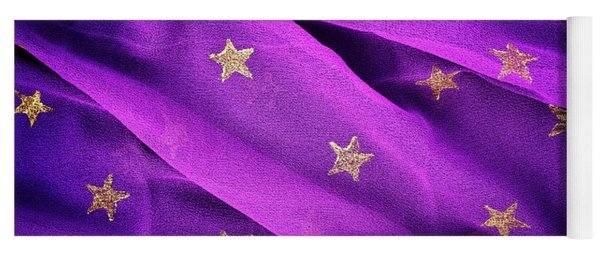 Yoga Mat featuring the photograph Gold Stars Purple by Tim Gainey