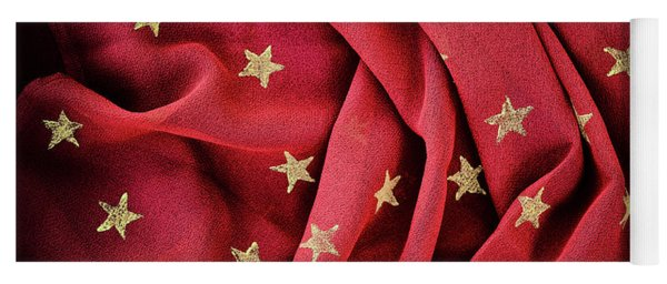 Yoga Mat featuring the photograph Gold Stars Red by Tim Gainey