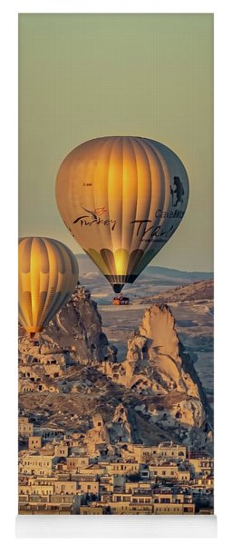 Yoga Mat featuring the photograph Golden Hour Balloons by Francisco Gomez