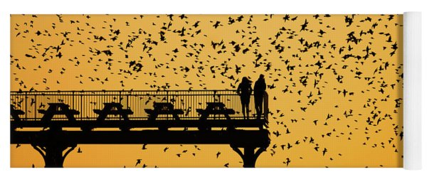 Golden Hour Starlings Over Aberyswyth Pier Yoga Mat