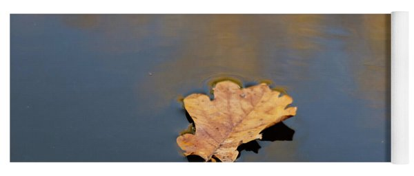 Yoga Mat featuring the photograph Golden Leaf On Water by Scott Lyons