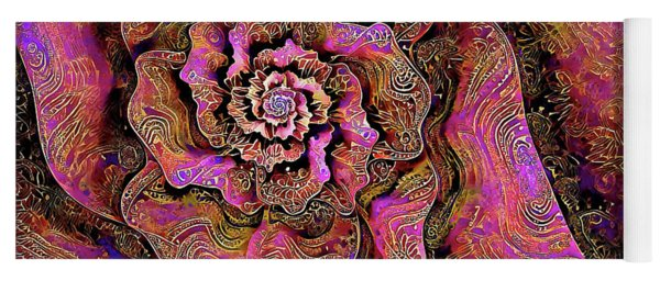 Yoga Mat featuring the digital art Golden Rose by Missy Gainer