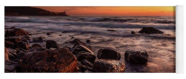 Golden Sunset Along The Coast In Tuscany.  Yoga Mat