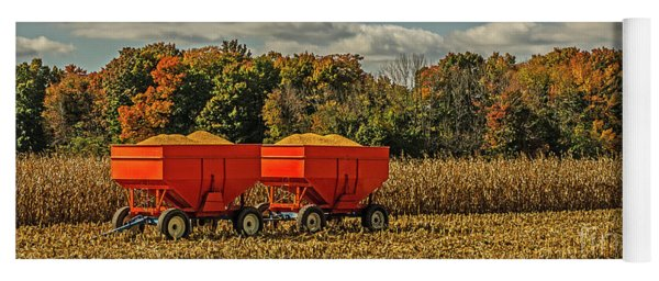 Grain Wagons Loaded With Maize Yoga Mat