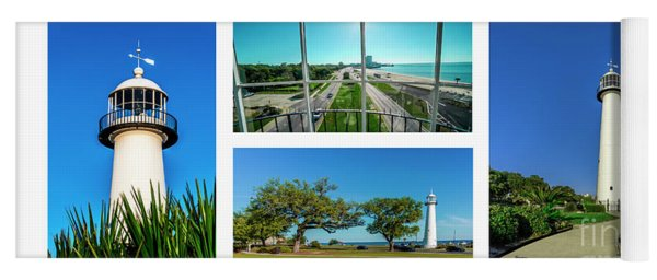 Grand Old Lighthouse Biloxi Ms Collage A1a Yoga Mat