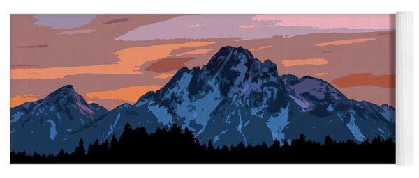 Grand Teton National Park Sunset Poster Yoga Mat