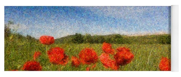 Grassland And Red Poppy Flowers 3 Yoga Mat