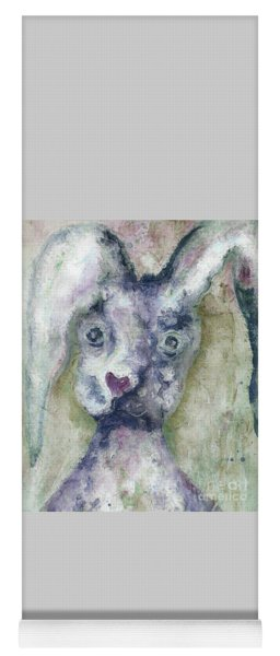 Yoga Mat featuring the painting Gray Bunny Love by Claire Bull