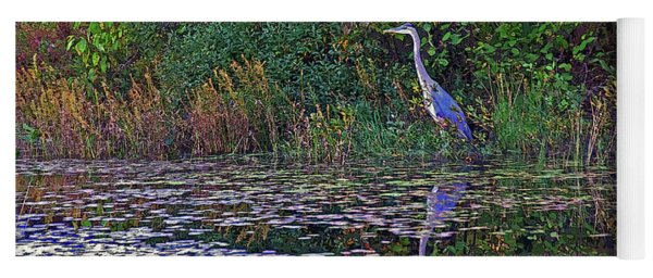 Great Blue Heron In Autumn Yoga Mat