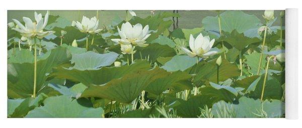 Great Egret And Lotus Flowers Yoga Mat