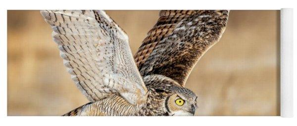 Great Horned Owl In Flight Yoga Mat