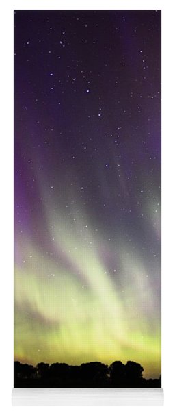 Green And Purple Fire In The Sky Yoga Mat