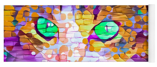 Green Eyed Cat Abstract Yoga Mat