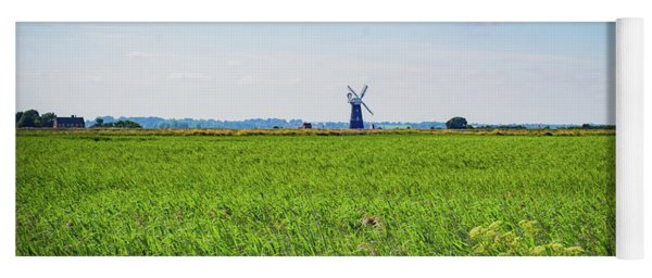 Yoga Mat featuring the photograph Green Grass Field With Windmill On Horizon by Scott Lyons