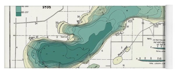 Green Lake Wisconsin  1898 Map Yoga Mat