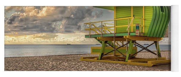 Yoga Mat featuring the photograph Green Lifeguard Stand by Alison Frank